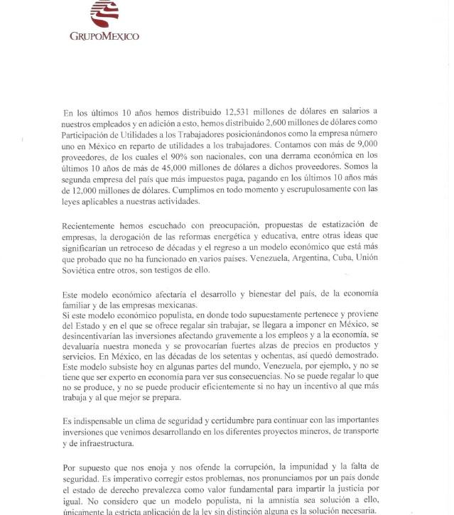Grupo México invita a razonar voto