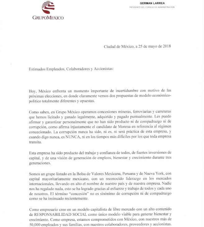 Germán Larrea alerta a sus trabajadores por modelo 'populista'
