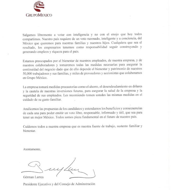 Grupo México llama a empleados a razonar el voto