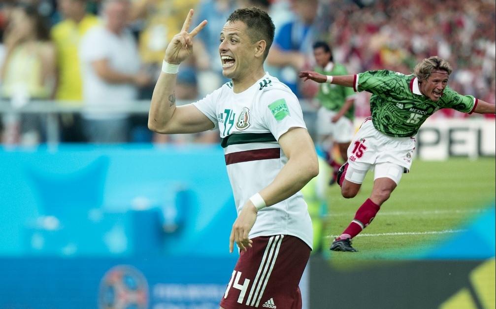 Tercer Mundial de 'Chicharito' anotando con México