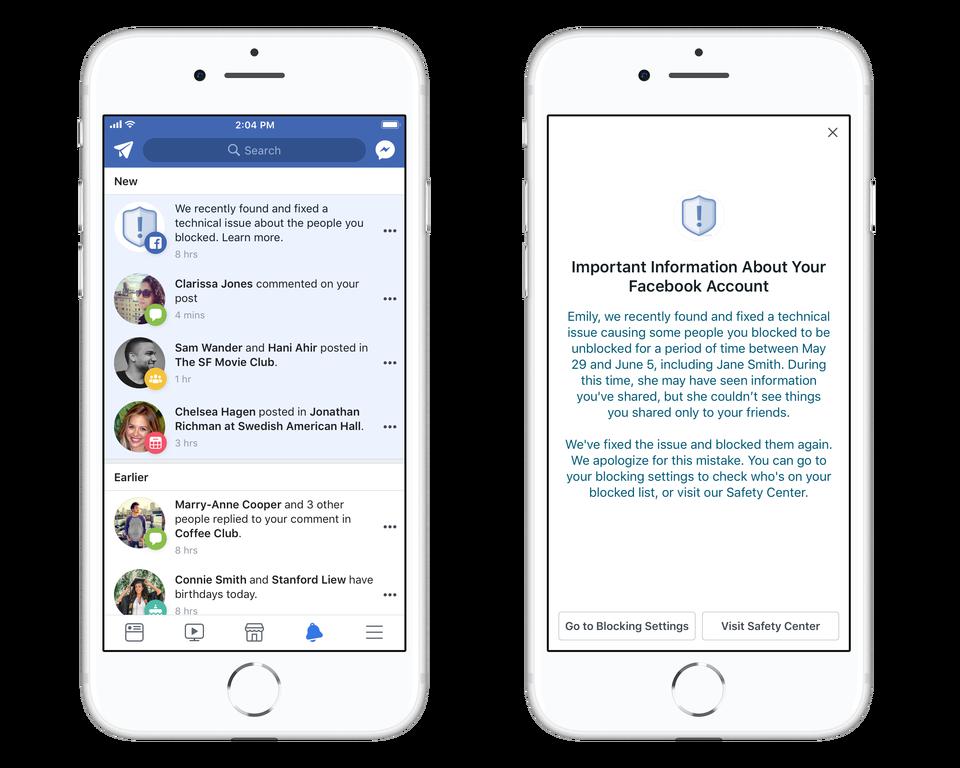 Un error hizo que Facebook desbloqueara tus contactos bloqueados