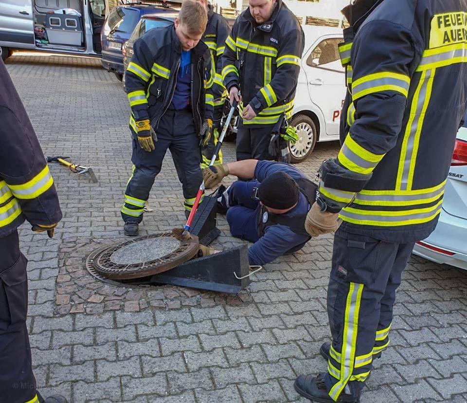 Se atora rata gorda en coladera al intentar huir; bomberos la rescatan