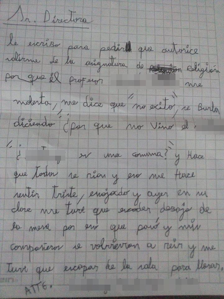 Niño Hace Carta Para Denunciar Bullying De Su Profesor
