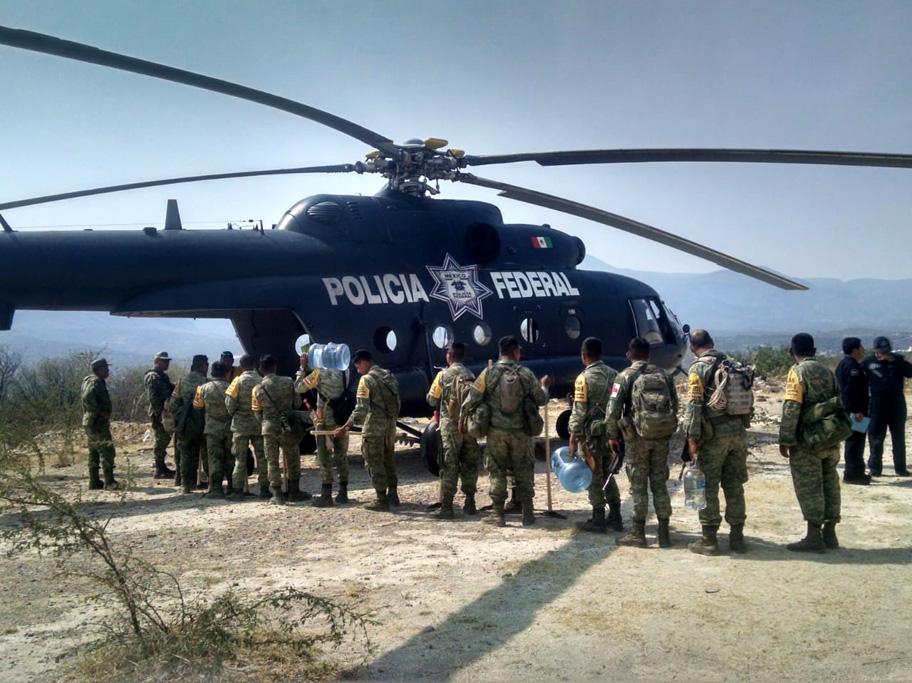 Federales y militares combaten incendios en Durango