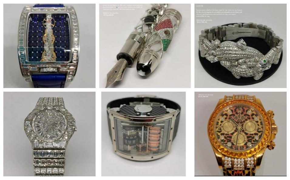 Subasta de joyas: relojes, anillos y pulseras a la venta en Los Pinos