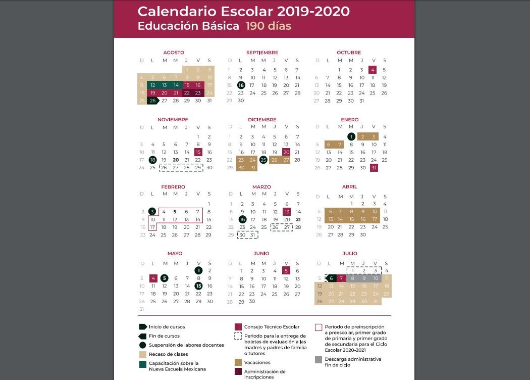 Calendario Escolar 2020 Sep Oficial.Calendario Escolar 2019 2020 Regreso A Clases