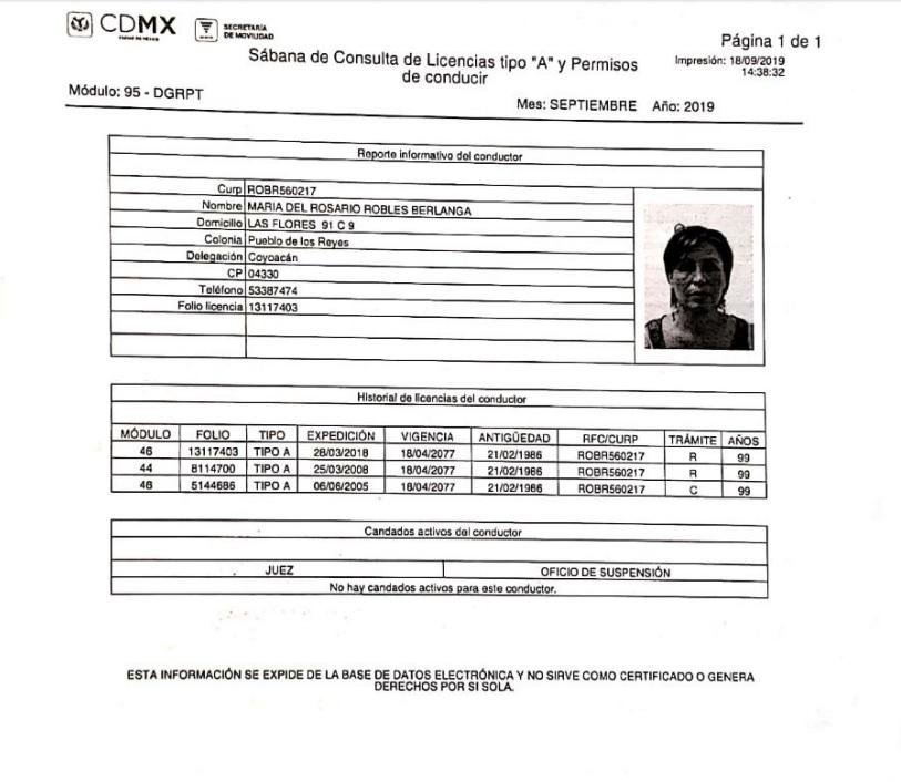 Semovi Certifica Solo Una Licencia De Conducir De Rosario Robles