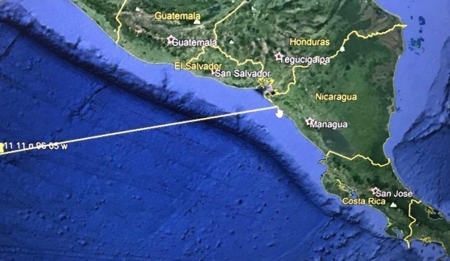 La embajada de EU en El Salvador avisó sobre un posible tsunami a 965 kilómetros de la frontera con Nicaragua. @USEmbassySV