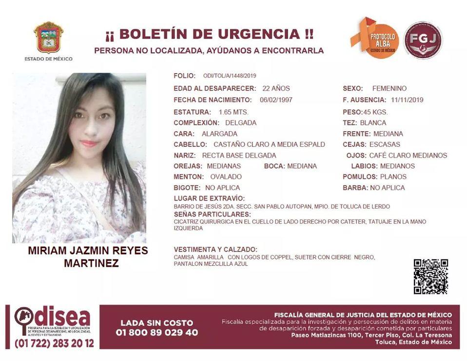 FGJEM busca a ex pareja de Miriam Jazmín Reyes - Milenio