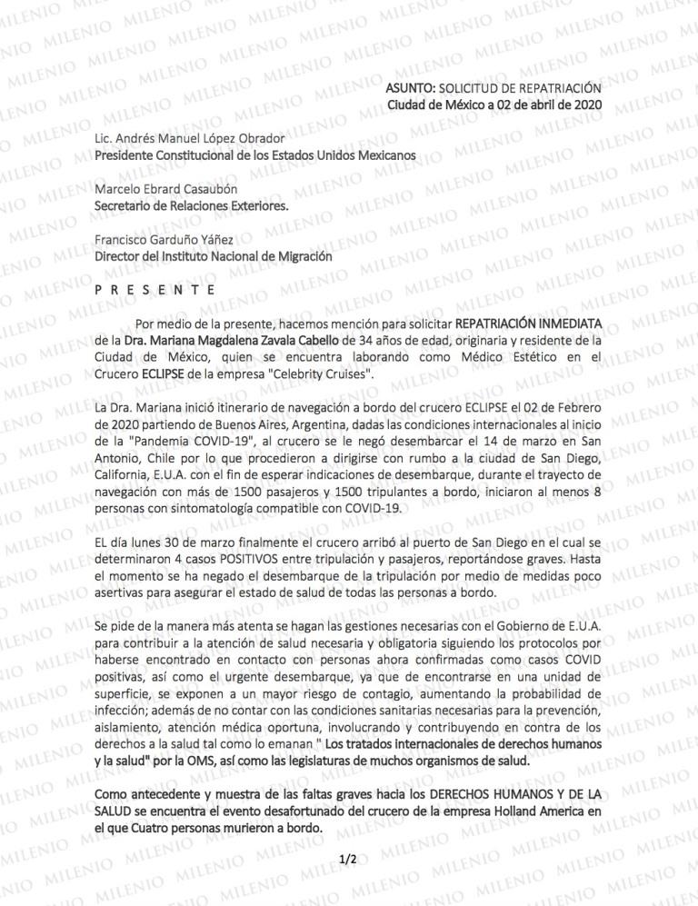 La carta enviada al presidente López Obrador