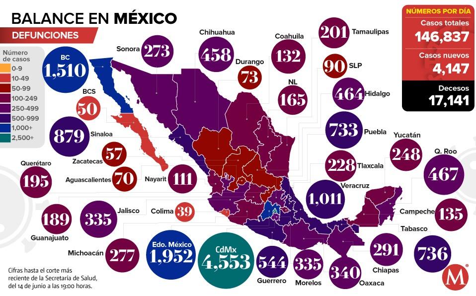 Coronavirus. Casos en México por estado, mapa al 14 de junio