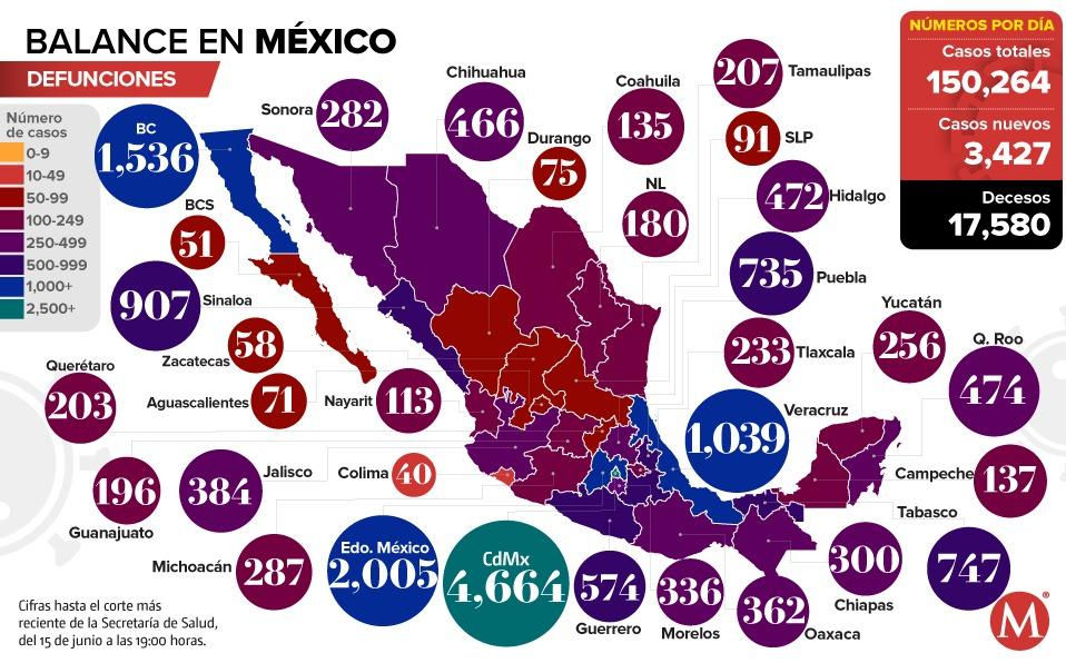 Coronavirus. Casos en México por estado, mapa al 15 de junio