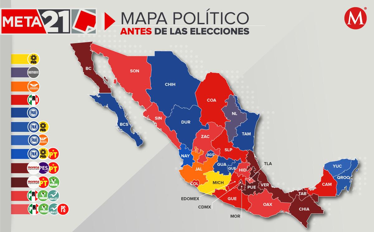 Mapa electoral 2021: antes y después de las eleciones en México