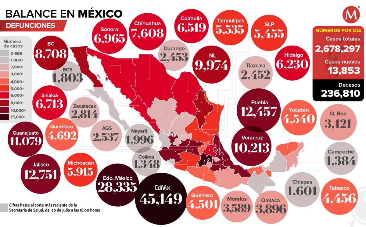 Mapa del coronavirus en México 20 de julio de 2021. (Especial).
